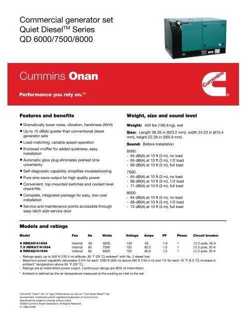 Commercial generator set Quiet DieselTM Series     - Cummins