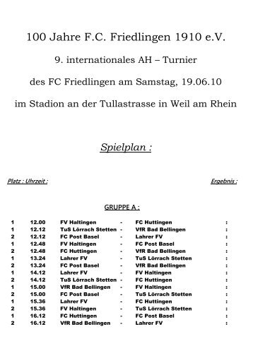 100 Jahre F.C. Friedlingen 1910 e.V. - TSV Rot-Weiss Lörrach eV