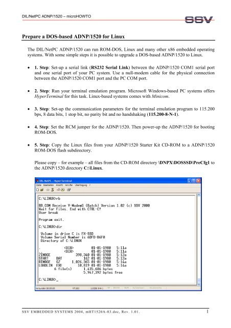 Prepare a DOS-based ADNP/1520 for Linux - DIL/NetPC