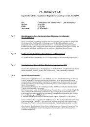 Protokoll Mitgliederversammlung 2013 - beim FC Hennef 05