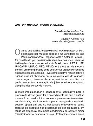 GT01 - Análise musical: teoria e prática. - Anppom