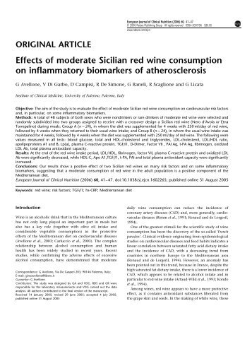 Effects of moderate Sicilian red wine consumption on ... - docvadis