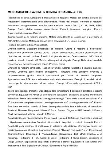 MECCANISMI DI REAZIONE IN CHIMICA ORGANICA (4 CFU)