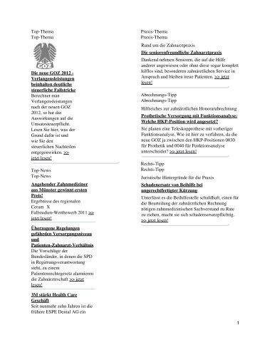 Top-Thema Top-Thema Die neue GOZ 2012 ... - Spitta