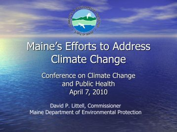 Federal Climate Legislation Good for Maine Business - University of ...
