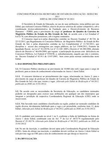 Edital retificado do concurso do magistério - Secretaria de ...