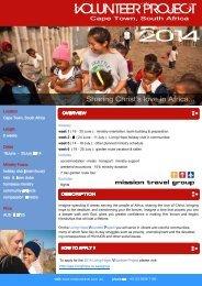Volunteer Cape Town 6 weeks 16 June - 25 July 2014 - Mission Travel