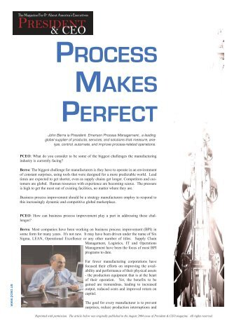 Process Makes Perfect - Emerson Process Experts