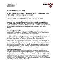 Medienmitteilung DPD Schweiz baut neues Logistikzentrum in ...