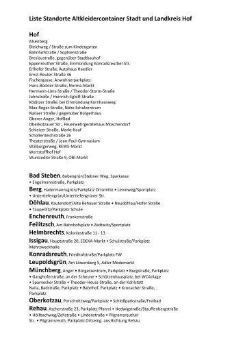 Liste Standorte Altkleidercontainer Stadt und Landkreis ... - AZV-Hof