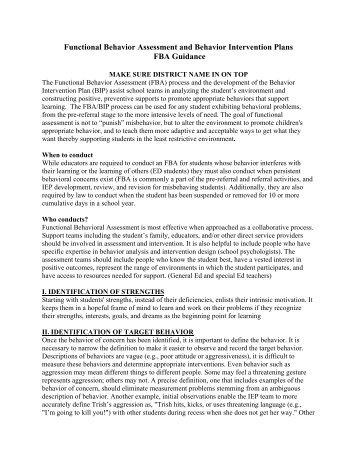 Functional Behavior Assessment Fba Special Education