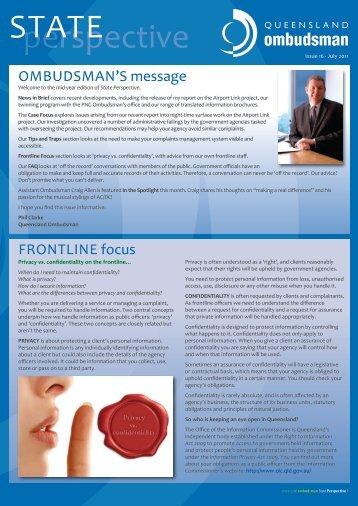 Issue 16 - Queensland Ombudsman