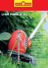 LI-ION POWER GT 815 LI-ION POWER GT 815