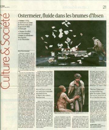 Revue de presse - Théâtre Vidy Lausanne
