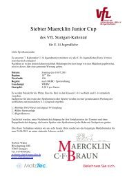Siebter Maercklin Junior Cup - WKBV