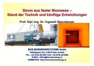 Strom aus fester Biomasse – Stand der Technik und künftige ...