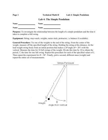 lab report the simple pendulum The purposes of this experiment are: (1) to study the motion of a simple  pendulum, (2) to study simple harmonic motion, (3) to learn the definitions of  period,.
