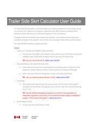 Trailer Side Skirt Calculator User Guide - Transports Canada