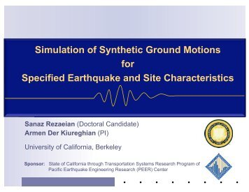 Simulation of Synthetic Ground Motions for Specified Earthquake ...