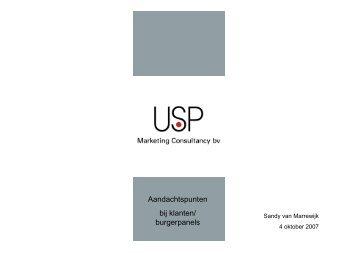 USP: Aandachtspunten bij Klantenpanels