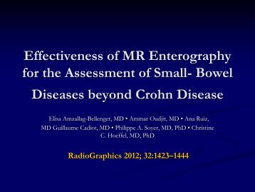Effectiveness of MR Enterography for the Assessment of Small ...