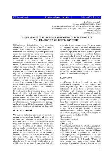 Valutazione du studi sugli strumenti di screening e di valutazione sui ...