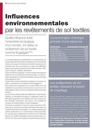 Influences environnementales par les revêtements de sol textiles