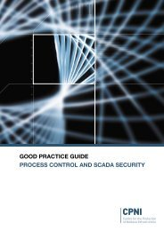 Process control and SCADA security - a good practice guide - CPNI