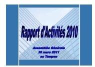 Rapport d'activités 2010 à télécharger - ORIAPA