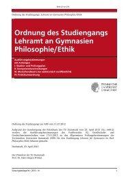 Ordnung des Studiengangs Lehramt an Gymnasien Philosophie/Ethik