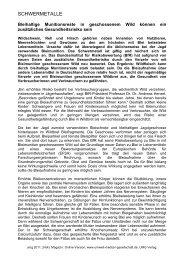 Bleihaltige Munitionsreste in geschossenem Wild ... - UMG-Verlag
