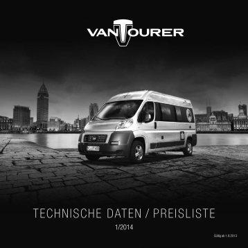 TECHNISCHE DATEN / PREISlISTE - VANTourer
