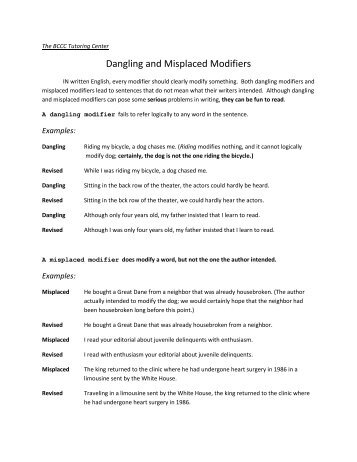 Dangling and Misplaced Modifiers Worksheet | Grammar | Pinterest ...