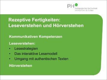 Rezeptive Fertigkeiten: Leseverstehen und ... - Optimisme.ch