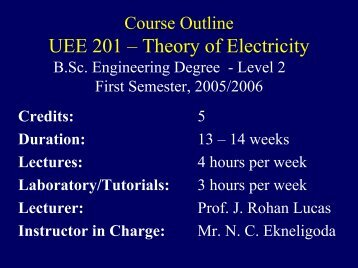 Course Outline - Electrical Engineering - University of Moratuwa