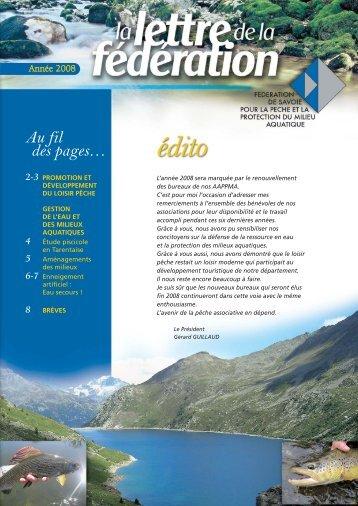 Lettre de la FSPPMA 2008 - Pêche en Savoie