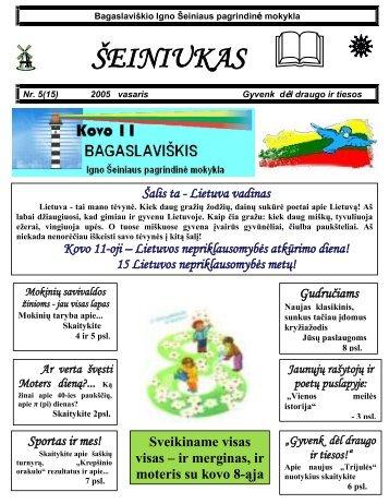 2005-02, Nr.15 - Bagaslaviškio Igno Šeiniaus pagrindinė mokykla