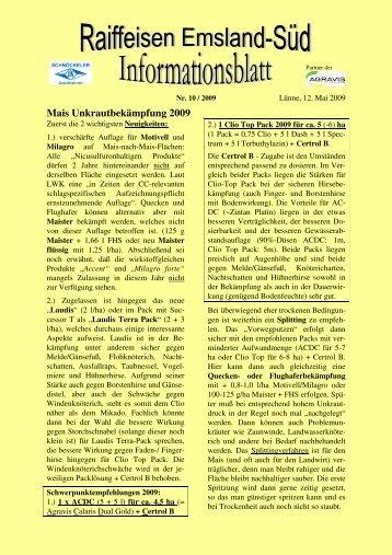 Mais Unkrautbekämpfung 2009 - Raiffeisen Emsland-Süd