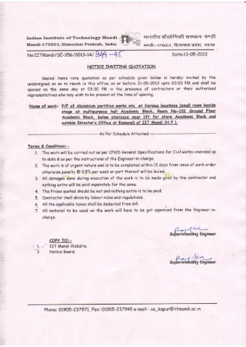 Quotation Letter  Iit Mandi