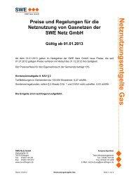 Netznutzungsentgelte ab 01.01.2013 - Stadtwerke Ettlingen GmbH