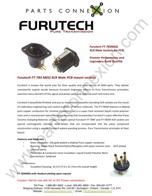 Furutech FT-783 M(G) XLR Male PCB mount     - Parts ConneXion