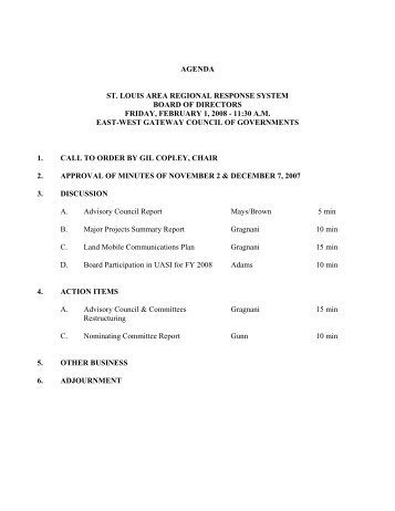 STARRS Board of Directors Meeting Packet - February 2008