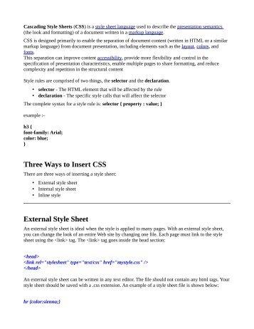 creating custom style sheet (CSS)