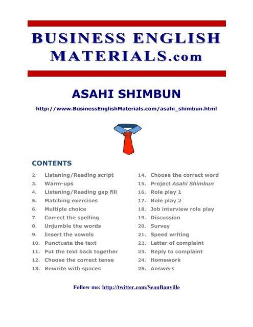Asahi Shimbun - Business English Materials com