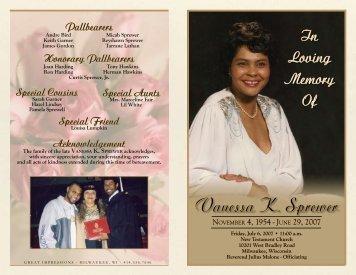 Vanessa K. Sprewer - Funeral Programs, Memorial Products