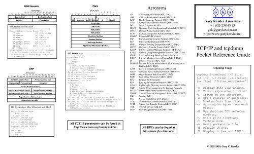 TCP/IP and tcpdump Pocket Reference Guide - GaryKessler net