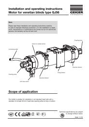Installation and operating instructions Motor for venetian blinds type ...