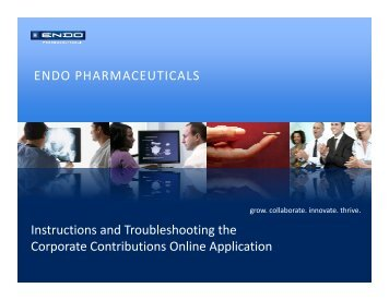ENDO PHARMACEUTICALS Instructions and Troubleshooting the ...