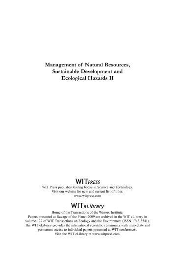 Management of Natural Resources, Sustainable ... - WIT Press