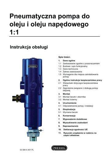 Pneumatyczna pompa do oleju i oleju napędowego 1:1 - Pressol